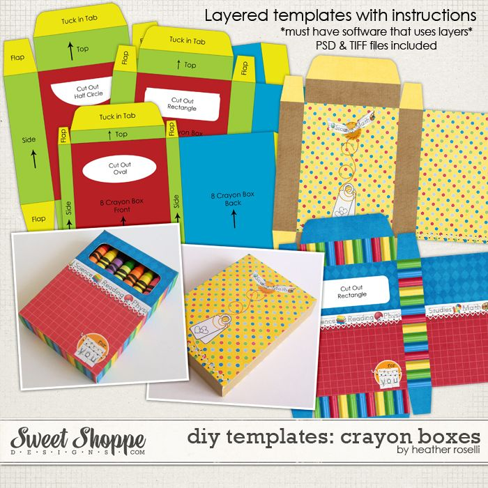 DIY Printable Templates: Crayon Boxes by Heather Roselli   paw ...