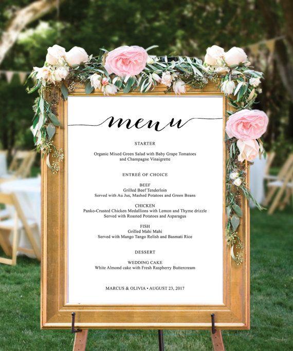 Idée Repas Mariage Simple Menu Sign Menu Board Wedding Menu by CreativeUnionDesign on Etsy