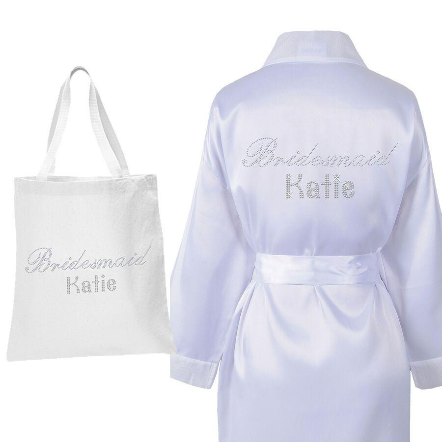 Personalised Crystal Bridesmaid Robe Tote Bag Luxury Wedding Bathrobe Set 2 Ad Affiliate Robe Amp Bridesma Bridesmaid Robes Bridesmaid Luxury Wedding