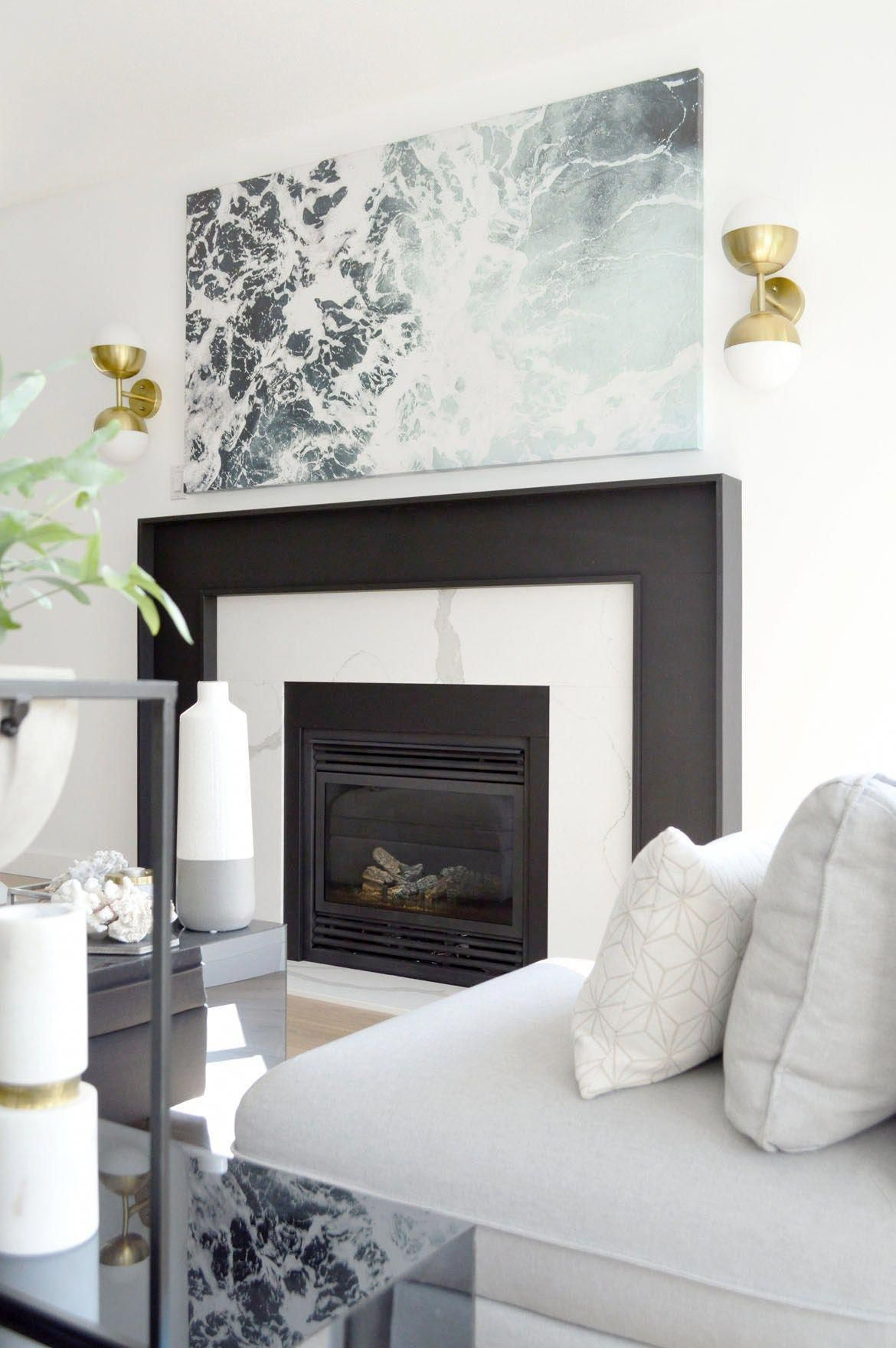 DIY Fireplace Makeover Marble Black Fireplacedecorating