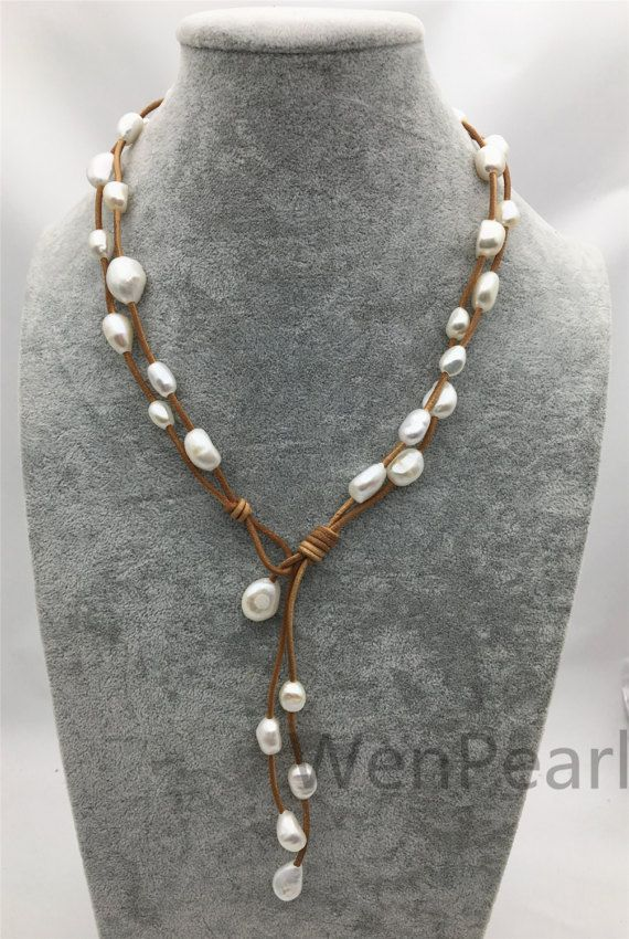 Two Rows Baroque pearl leather necklace,Pearl and Leather Lariat Necklace,Leather Pearl necklace,Leather baroque pearl necklace,Le4024 is part of Leather pearl necklace, Leather necklace, Lariat necklace, Pearl leather, Baroque pearls, Baroque pearl necklace - WenPearls section id 18893027   All items in my shop are made to order    Most of the time it takes 13 business days but can be longer at times and for larger orders  If you want to order of different style  Please contact me    Please feel free to convo me should you have any question! Thank you! )