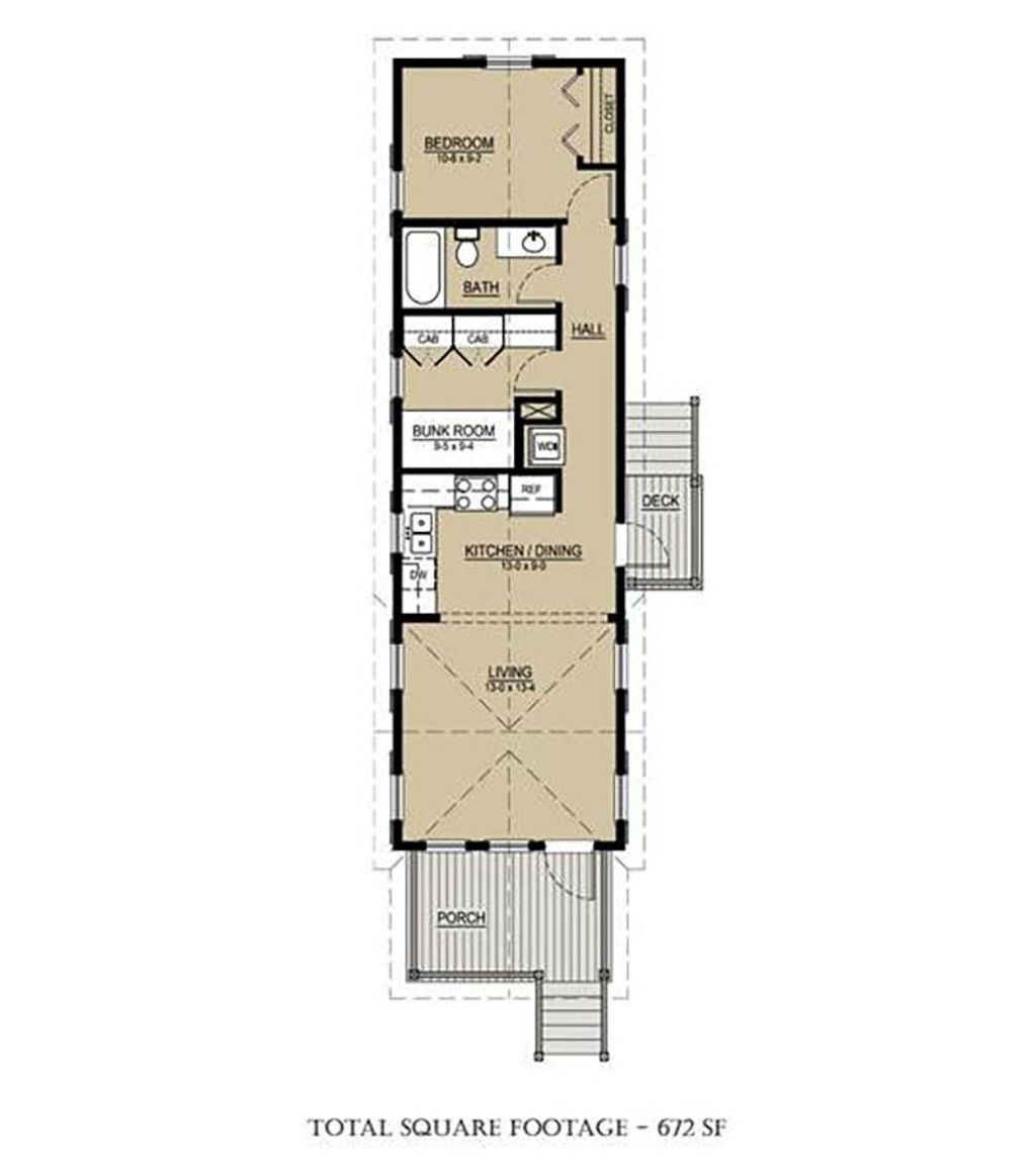Cottage Style House Plan - 2 Beds 1 Baths 672 Sq/Ft Plan #536-4 Floor Plan - Main Floor Plan - Houseplans.com