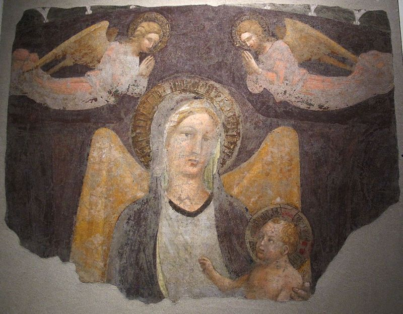 Battista di Gerio - Madonna col bambino e due angeli - 1415 ca. - Museo nazionale di Villa Guinigi