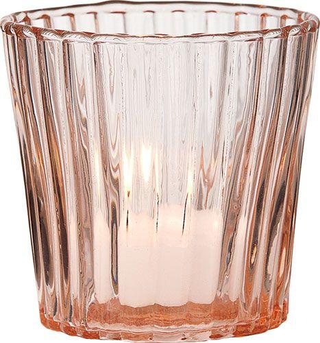 Vintage Pink Tealight Candle Holder Vertical Motif