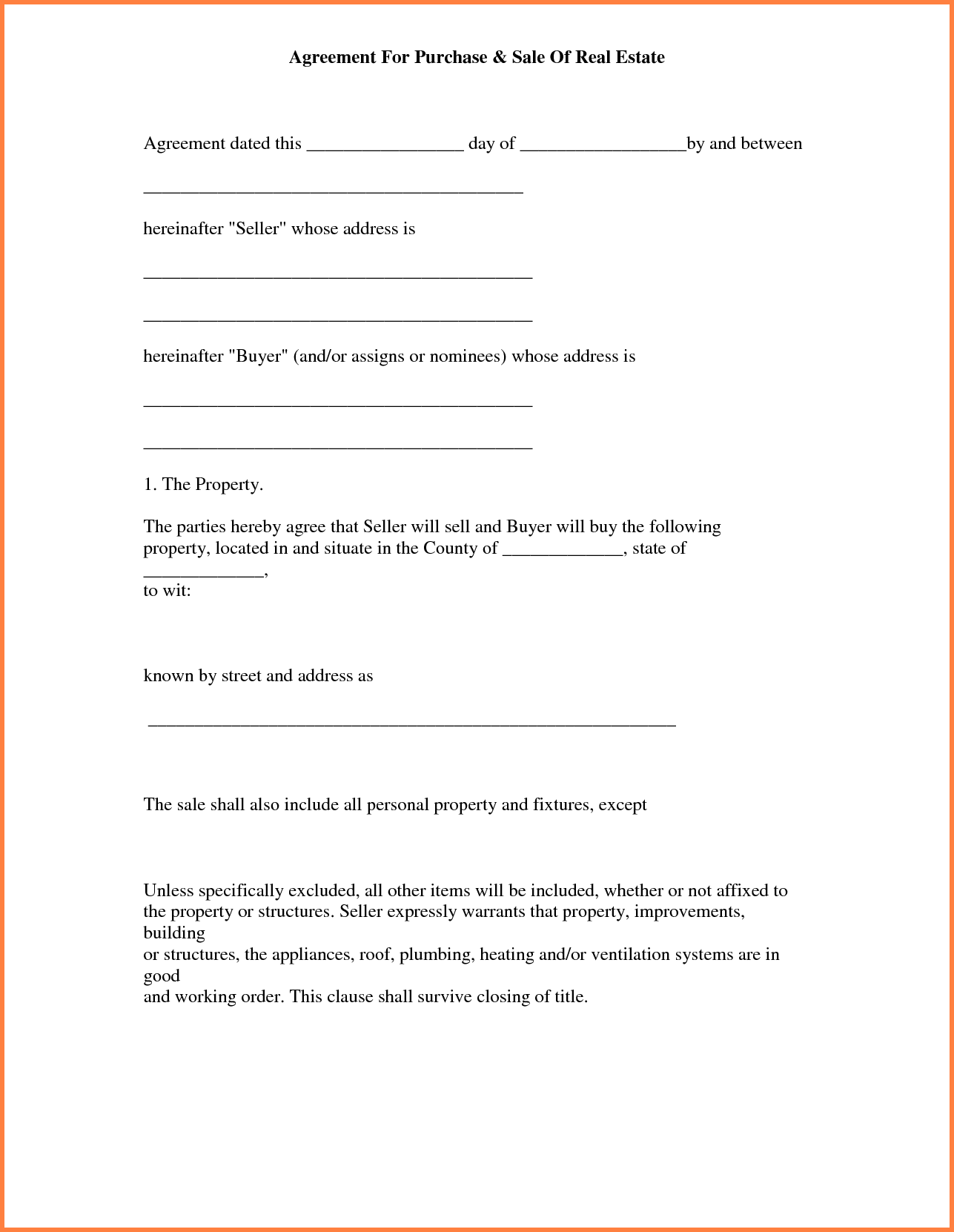 Simple Land Purchase Agreement Form Template Purchase Agreement