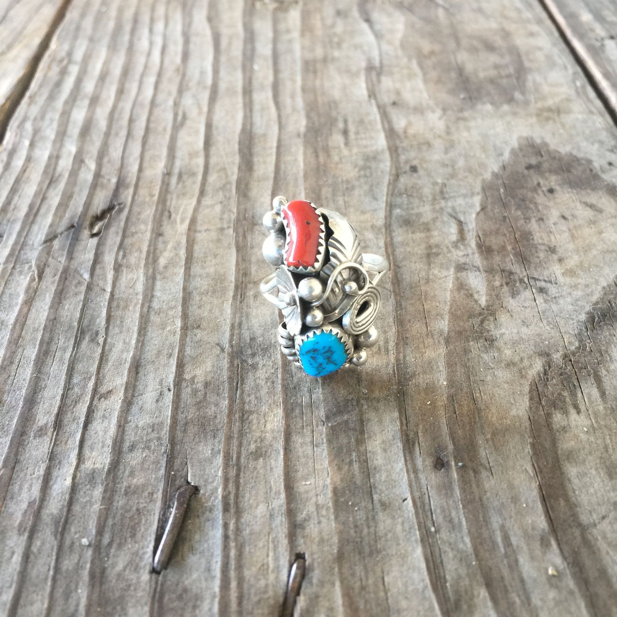 Vintage Turquoise and Coral Squash Ring