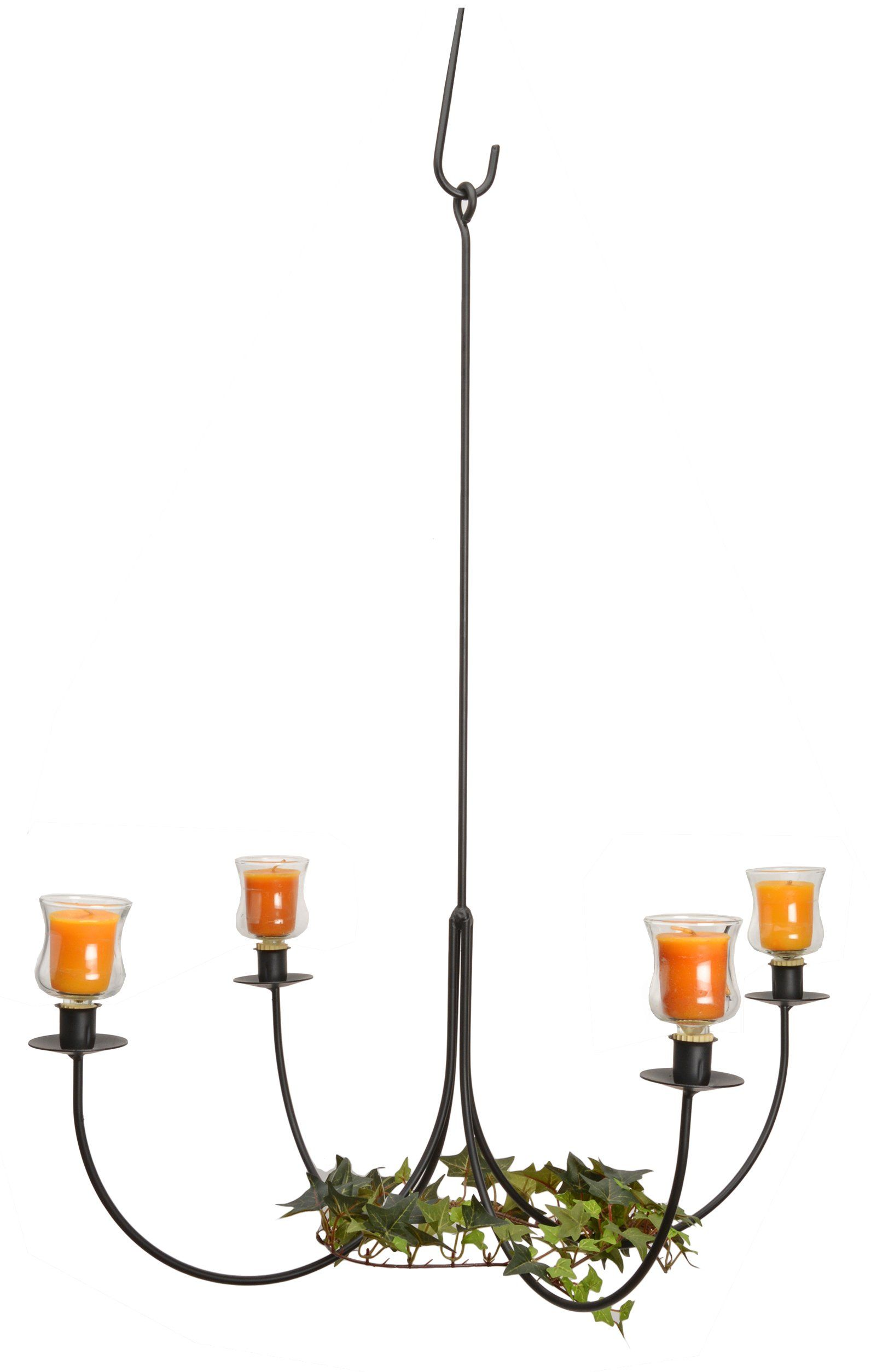 Large 4 arm wrought iron candle chandelier handcrafted colonial
