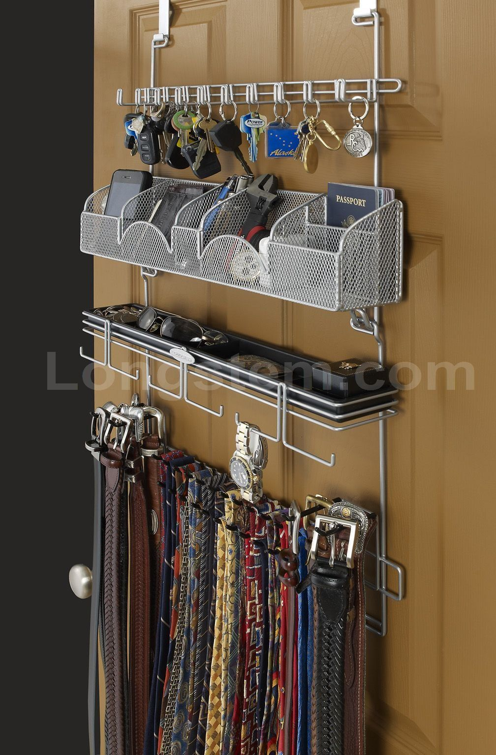 Longstem Men/'s Valet Over the Door//Wall Organizer #9200 Tie Belt Key Rack  Black