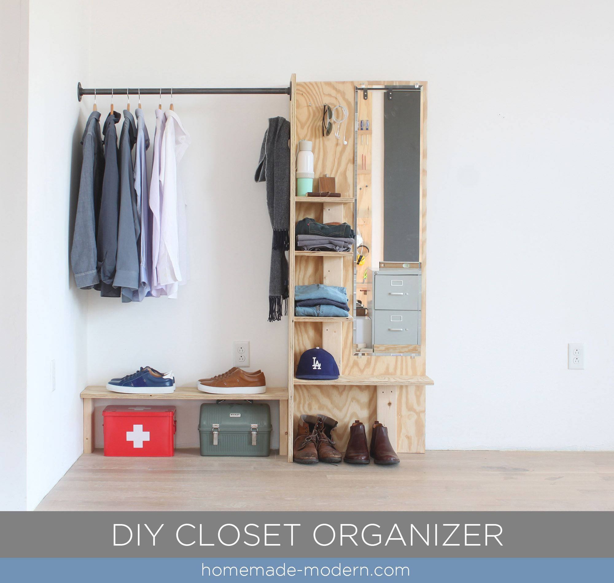 This DIY Closet Organizer is made from materials available at Home Depot. Full instructions can be found at HomeMade-Modern.com