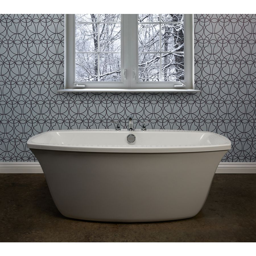 Shop Jacuzzi Primo White Acrylic Oval Freestanding Bathtub with Back ...