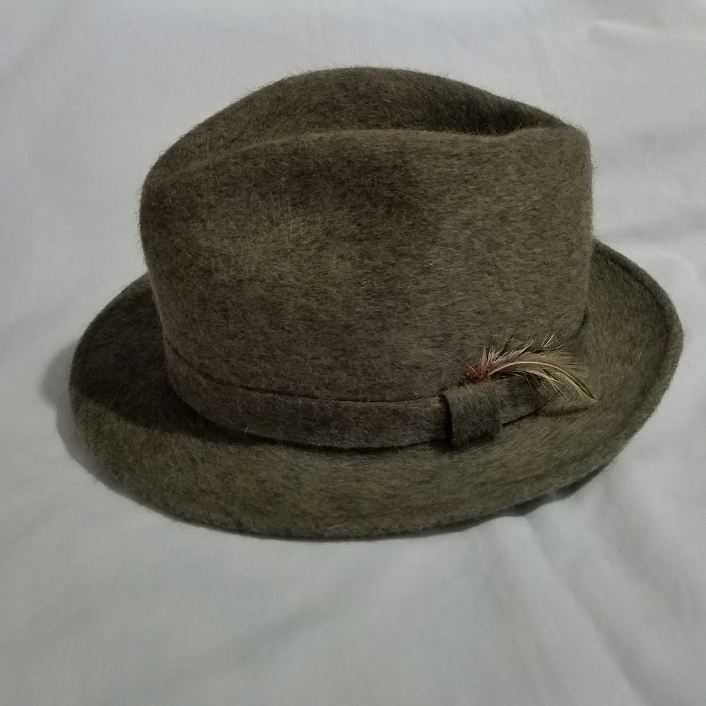 Vintage Mallory By Stetson Fedora Feathered Wool Hat Mens Size Large Gray  MCM  Stetson  Fedora  Casual 1dd720bd92f