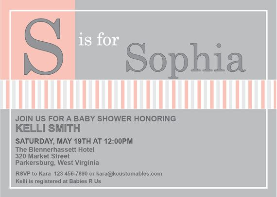 UNIQUE Baby Shower Invitation - Focus on Babys Name via Etsy - baby shower invitation letter