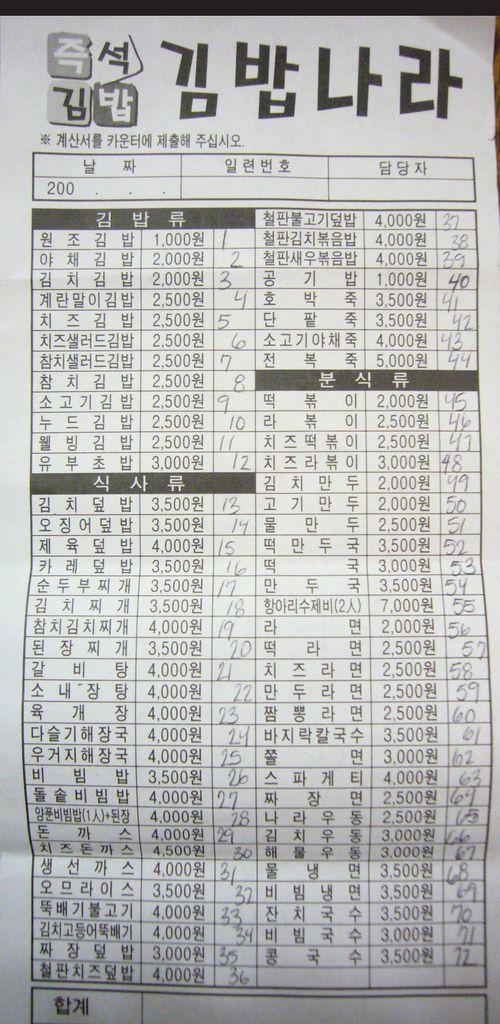Korean Kimbap menu Explained! It's the Holy Grail. | Une ...