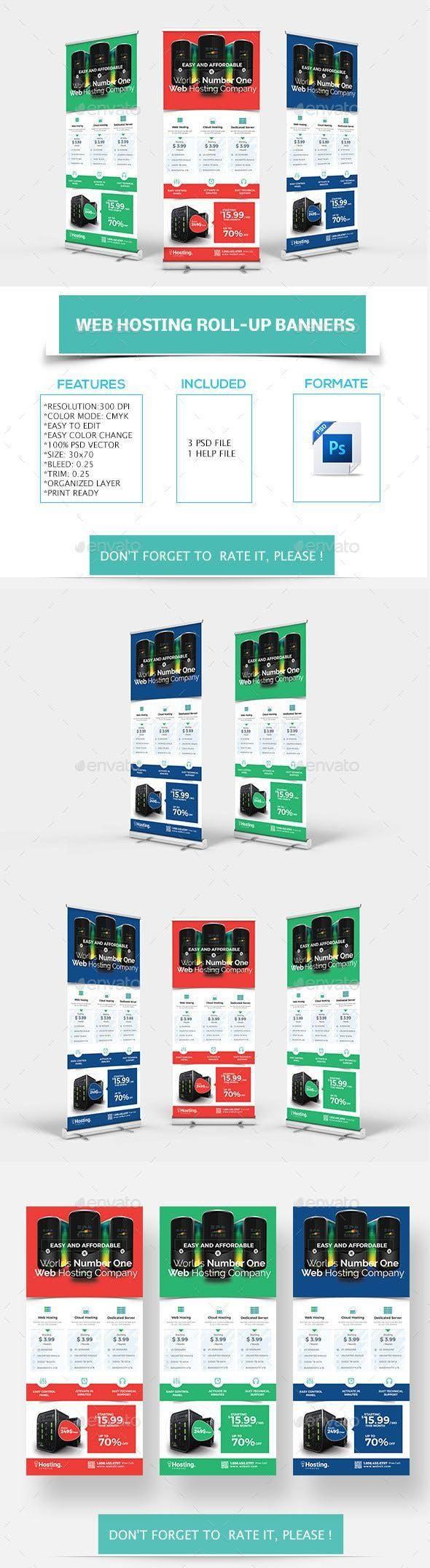 Web Hosting Roll-up Banners #PrintDesign #SignageDesign #SignageTemplates #desig...