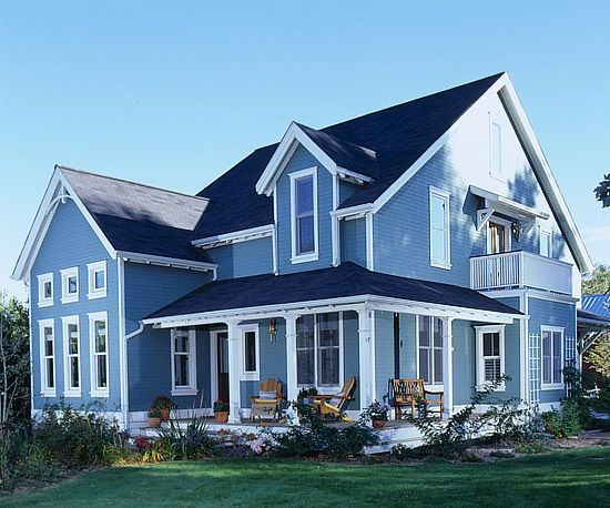 Best Front Porch Designs That Wrap Around Blue House W White 400 x 300