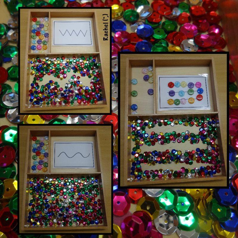 Fireworks & Fun Card patterns, Montessori trays, Early