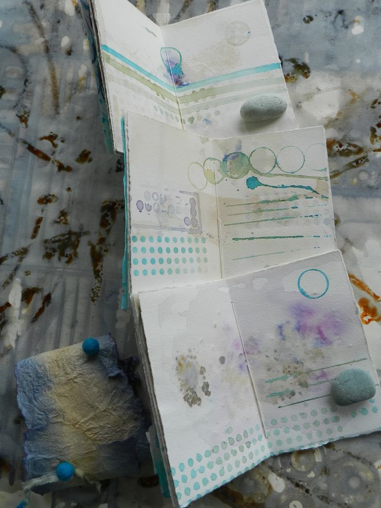 sky water journal trio by Elizabeth Bunsen  with tea and blossom stained pages /  centerfolds http://elizabethbunsen.typepad.com/be_dream_play/2013/05/doodle-and-savor.html http://elizabethbunsen.typepad.com/photos/shop_eb/rustiedressup-016.html