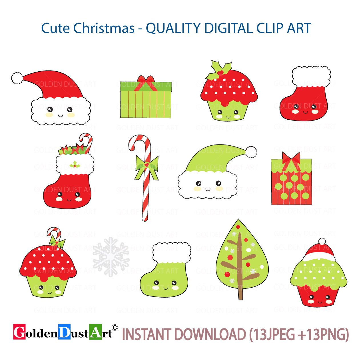 Christmas Clipart, Kawaii Christmas, Kawaii Clipart, Cute Christmas ...