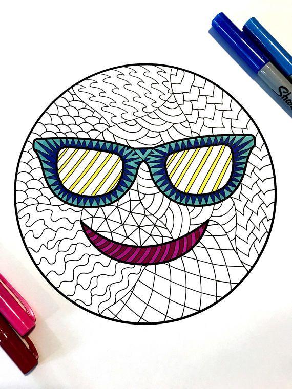 Sunglasses Emoji Pdf Zentangle Coloring Page Mojis Mandalas