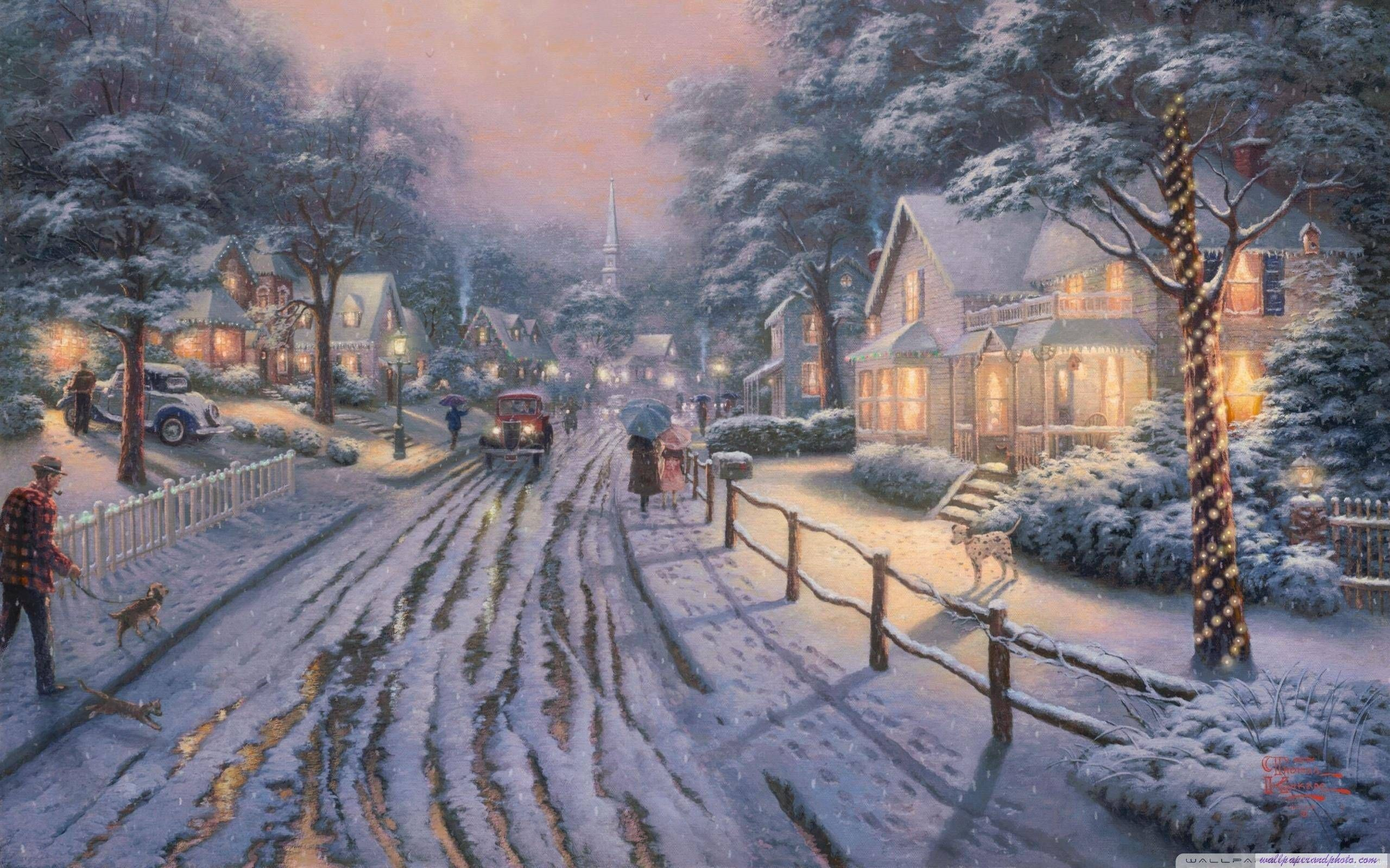 Hometown Christmas Memories by Thomas Kinkade HD 16 9 16 10 desktop