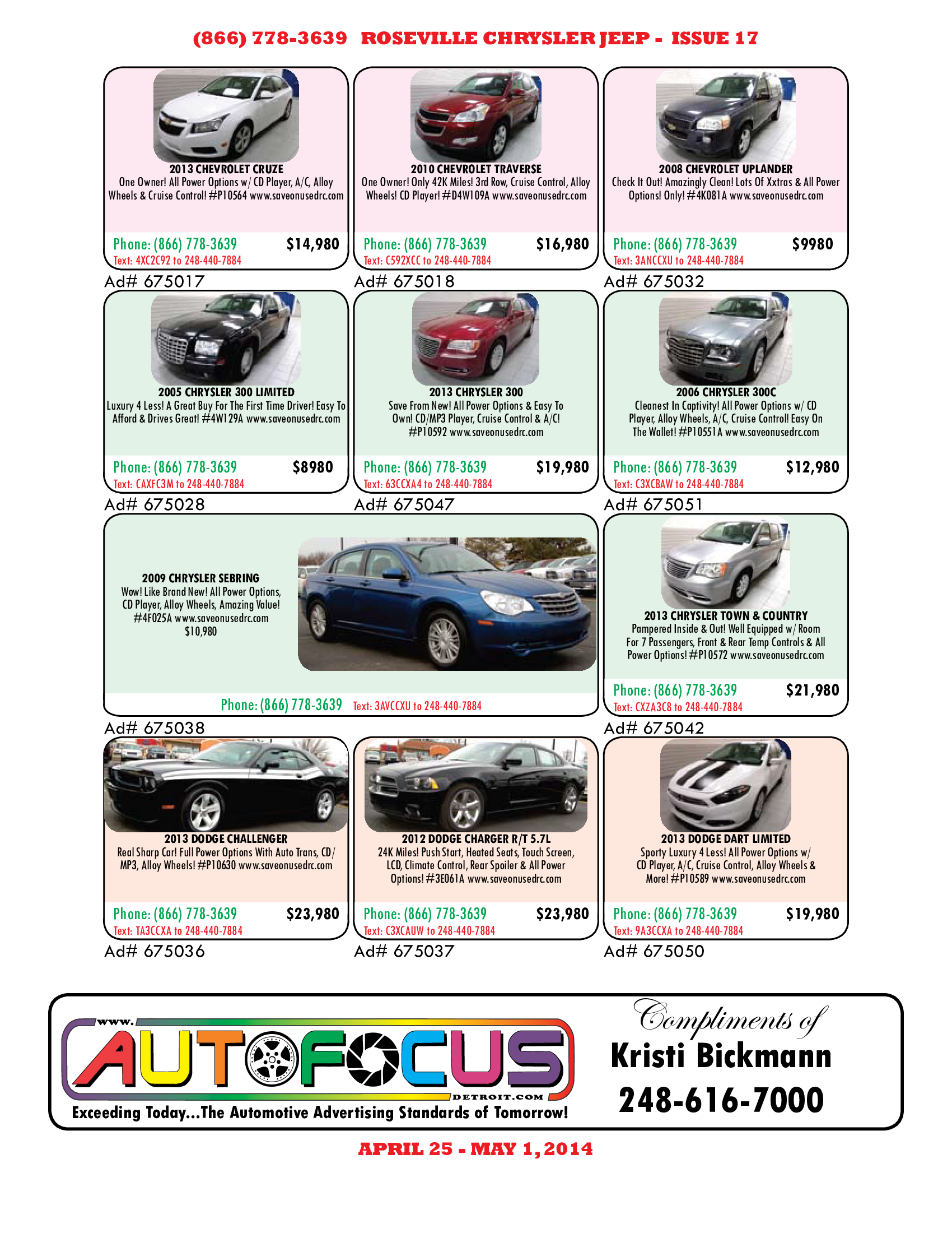 Used Car Ads April May 2014 Chrysler Jeep Chrysler Dodge Jeep