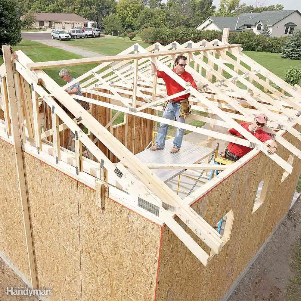 whether you build your own trusses or order them from the lumberyard building a roof with trusses is much easier than framing a roof one rafter at a time - Building A Roof