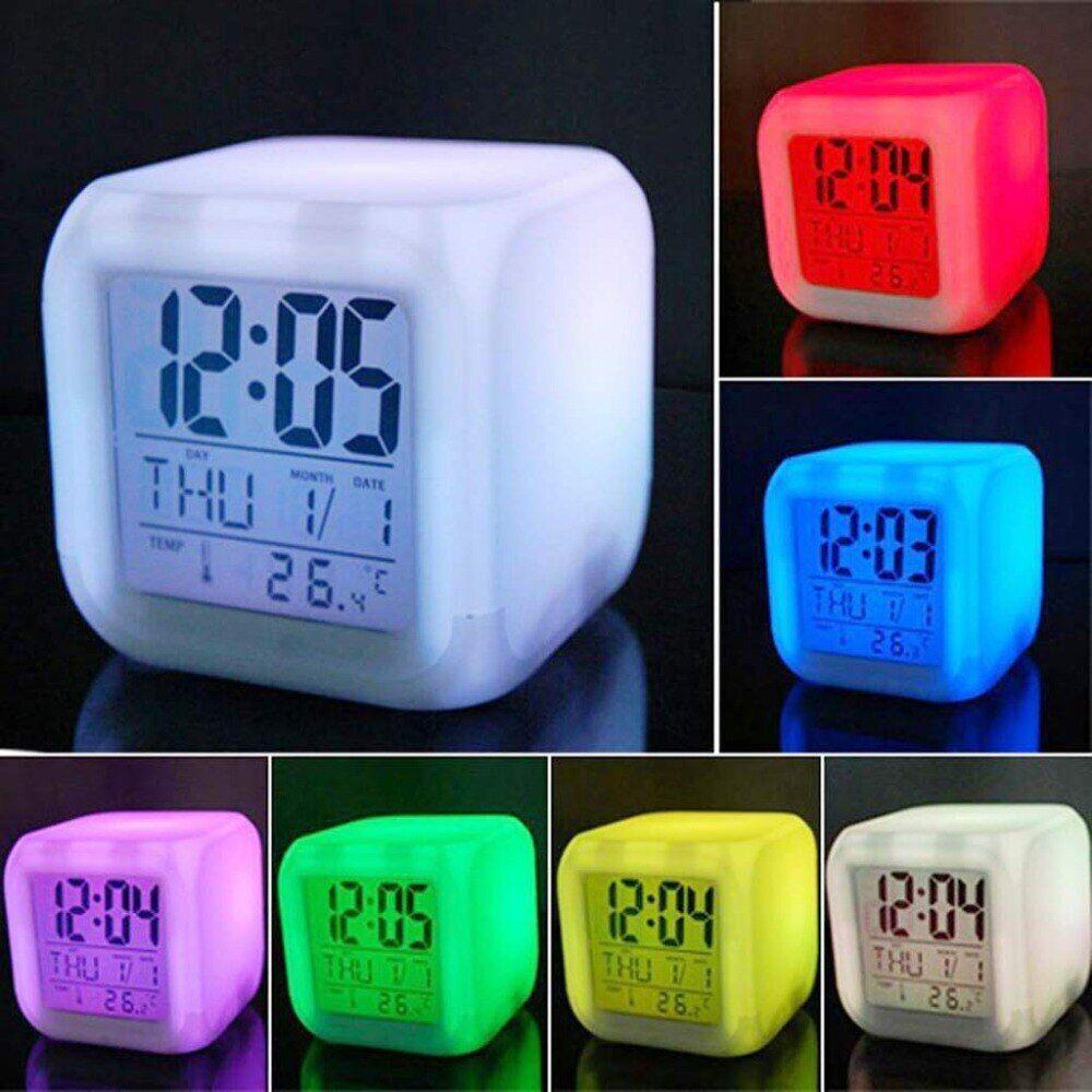 Multifunktions 7 Farbe Andern Led Digital Wecker Mit Datum Alarm Thermometer Desktop Tisch Cube Wecker Nacht Leuchtende Wecker Uhrideen Und Digital Wecker