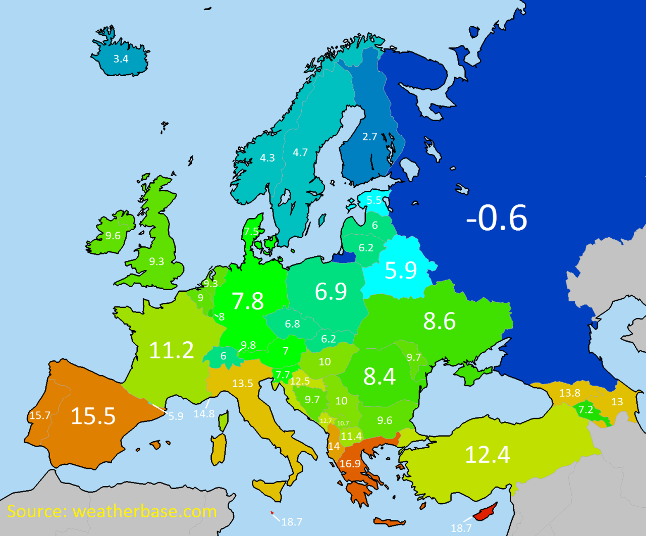 Average annual temperature in Europe. | Cartography | Mapa historico ...