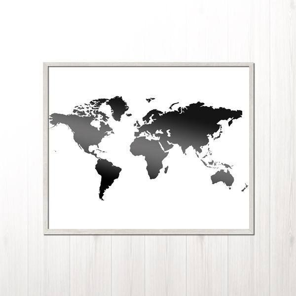 World map printable world map map print black and white map wall world map world map poster map print black and white map wall decor scandinavian print map poster large silhouette world map printable by gumiabroncs Images