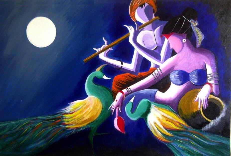 Sanjus Art Modern Radha Krishna Painting