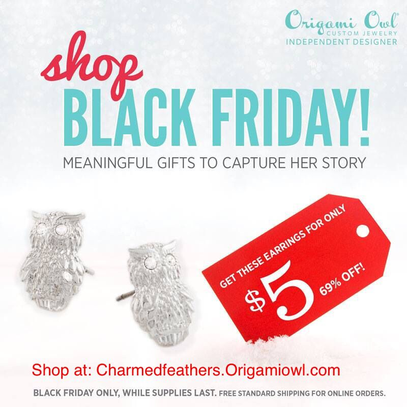 Don't miss out Black Friday deals start midnight tonight while supplies last hurry before they are gone #origamiowl #christmas #blackfriday #christmasiscoming  Charmedfeathers.origamiowl.com