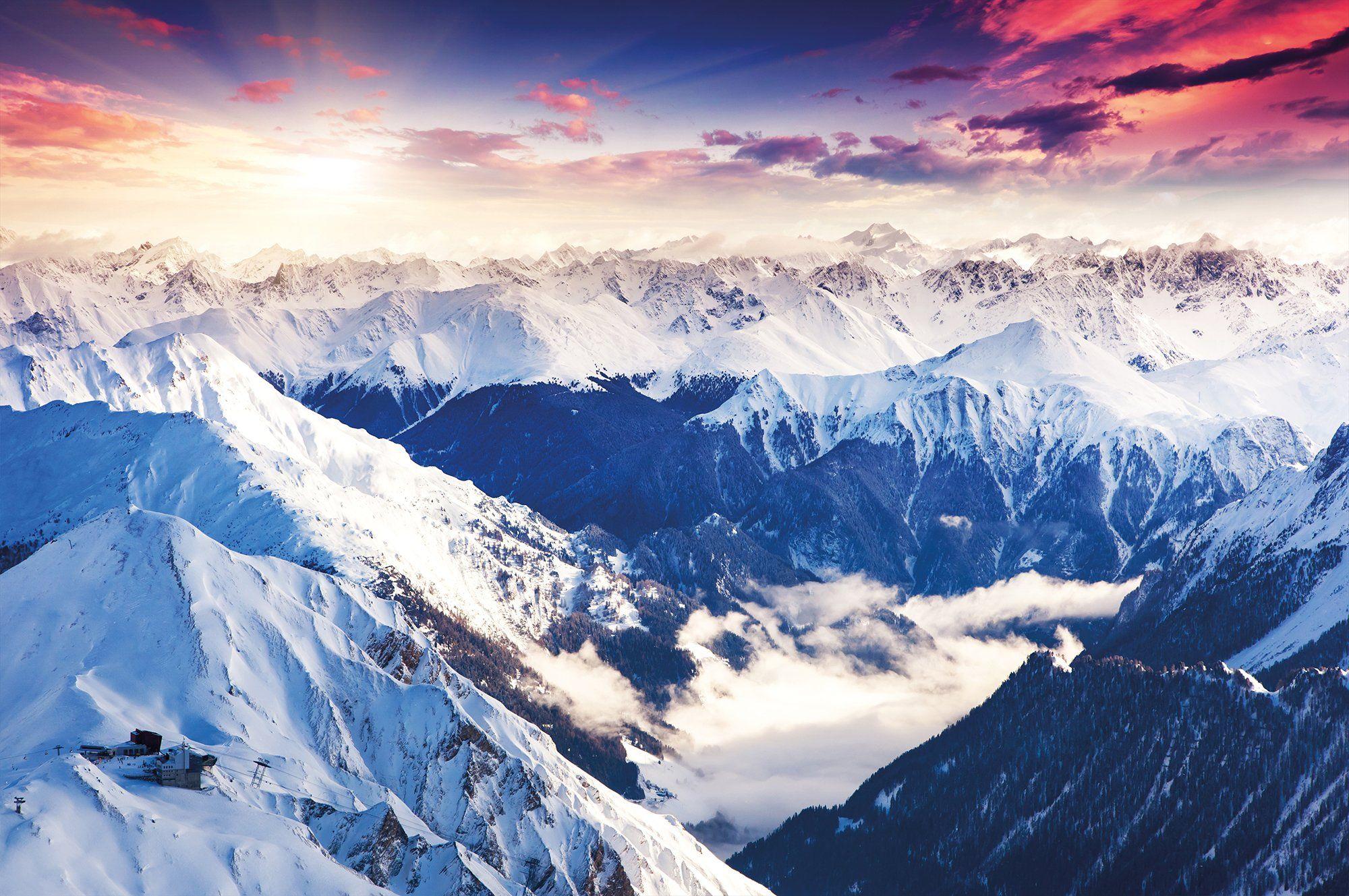 berge alpen fototapete fantastische abend winterlandschaft wandbbild xxl sch ne. Black Bedroom Furniture Sets. Home Design Ideas