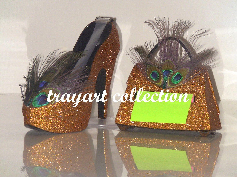 Captivating Bronze / Copper Peacock Stiletto Platform High Heel Shoe TAPE Dispenser U0026  Purse Pop Up