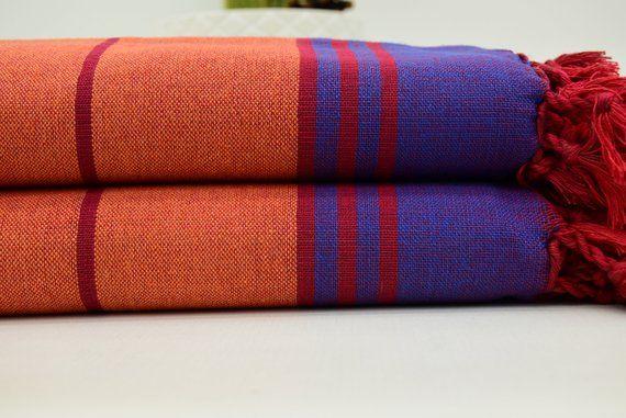 Orange Towel Striped Towel Organic Towel Turkey Towel Dish Towel