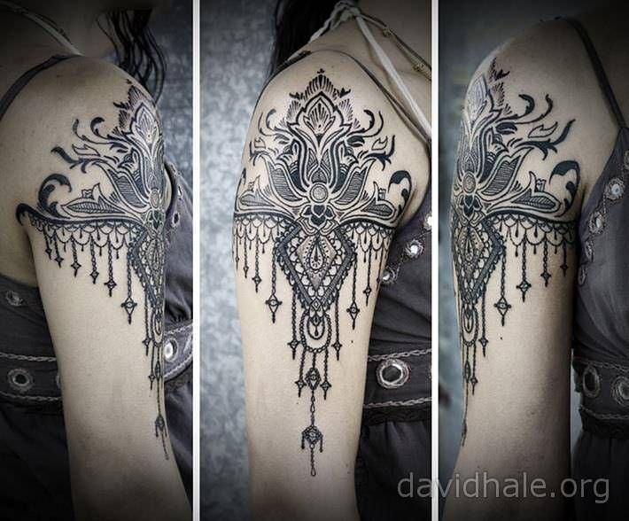 Mehndi Wolf Tattoo : Lace dragonfly tattoo paisley and designs converge in this