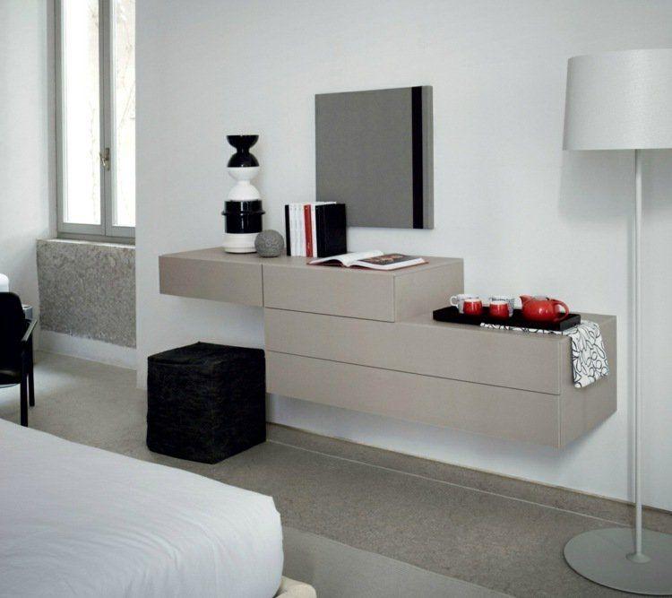 Meuble coiffeuse en blanc et en du0027autres couleurs u2013 30 idées inspirantes - comment fixer un meuble au mur