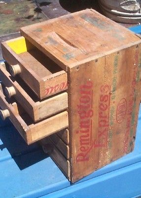 Vintage Remington Ammo Shell Wood Box Storage Cubby Drawer