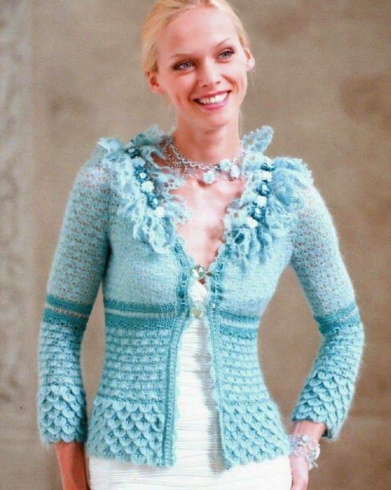 Chaqueta Celeste Punto Cocodrilo Tutorial - Patrones Crochet | love ...
