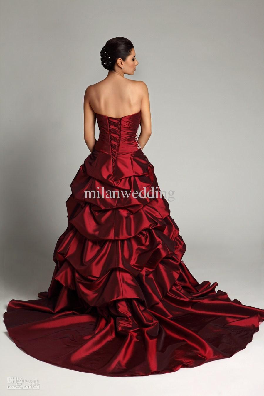 red-wedding-dress-for-allure-dark-red-wedding-dresses-satin-applique ...