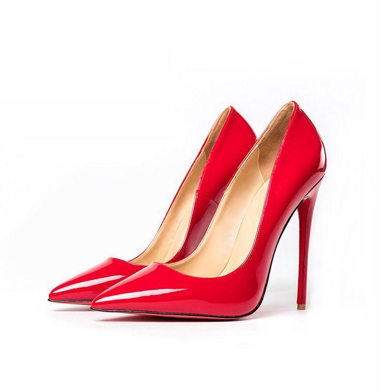 Elegancka Czerwone Wieczorowe Czolenka 2019 Skory Lakierowanej 12 Cm Szpilki Szpiczaste Czolenka Stiletto Heels Heels Pointed Toe Pumps