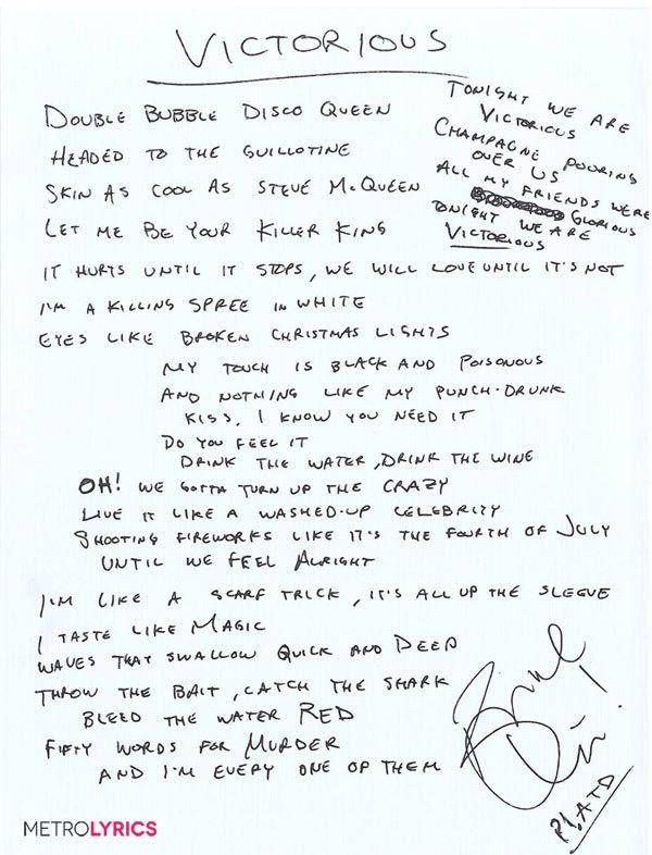 Enter to Win Handwritten Lyrics From Panic! At the Disco | MetroLyrics