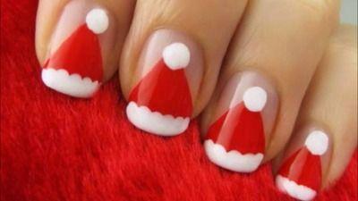 Easy Santa Claus Hat Nails Adorable Christmas Nails Easy Santa Hat Nails Christmas Nail Art Designs