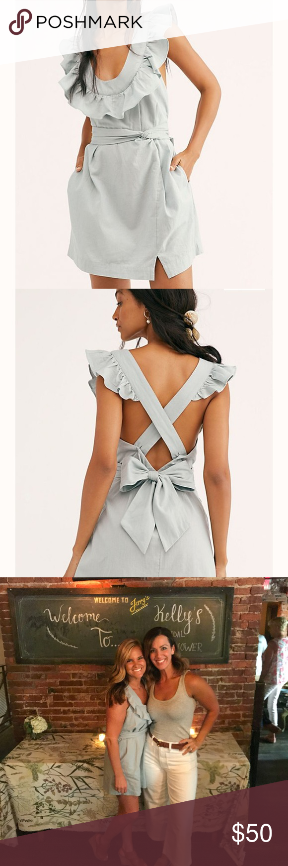 Beautiful Sage Free People Dress Cute Summer Sage Green Dress. Worn once (in picture) and dry cleaned. I wore a sticker bra underneath and was super cute. Free People Dresses Mini #sagegreendress