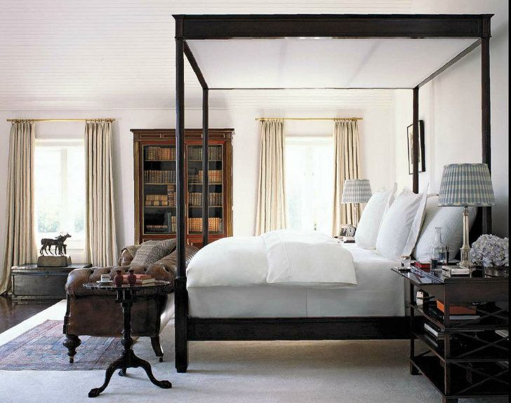 Masculine Bedroom With A Dark Wood Four Post Canopy Bed, White Linens, And  Dark Wood Hutch/Library. Photo Via Kerry Joyce