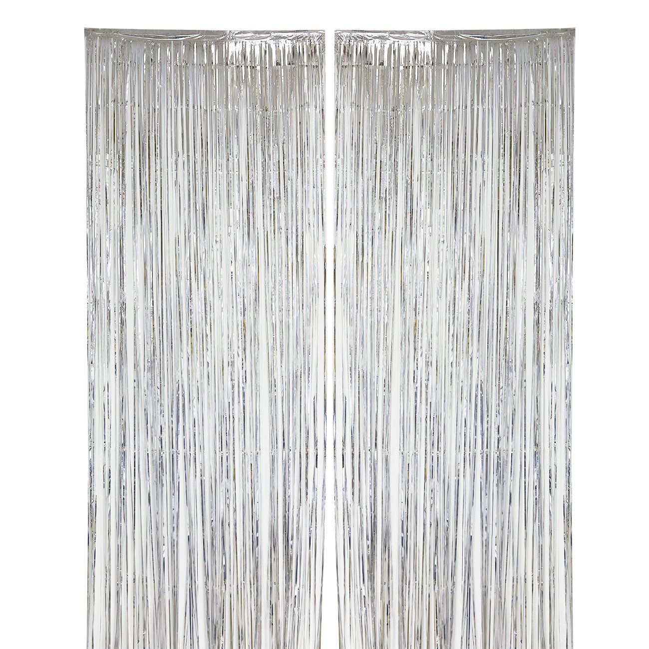 2pack Silver Fringe Curtains Wedding Photo Backdrop Metallic Tinsel Foil Fringe Curtain Party D Curtain Fringe Photo Backdrop Wedding Frozen Party Decorations