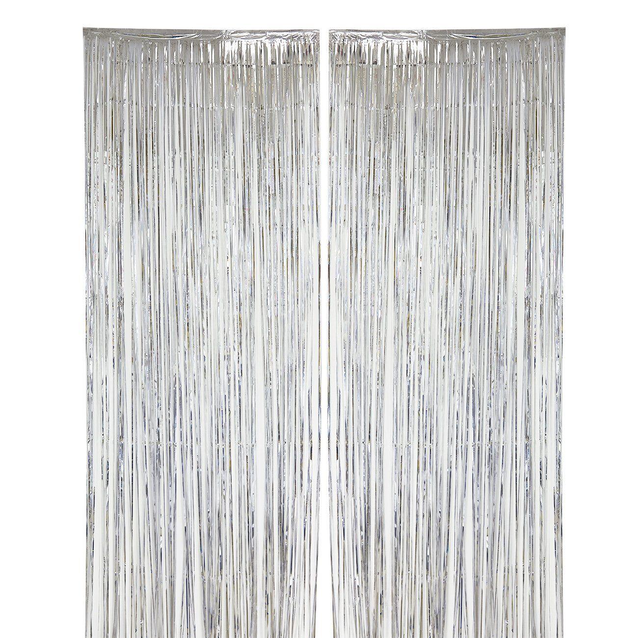 2pack Silver Fringe Curtains Wedding Photo Backdrop Metallic