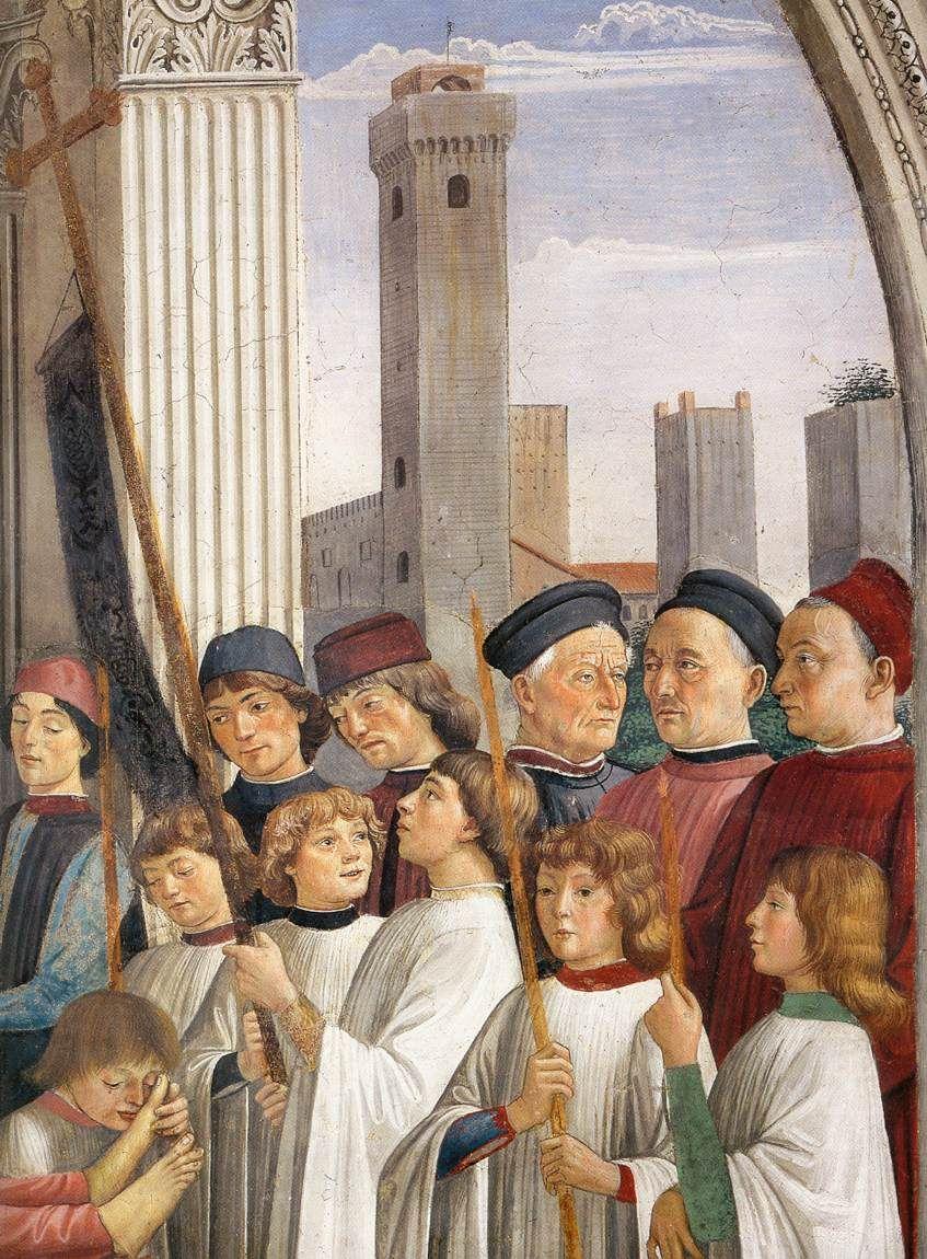 GHIRLANDAIO, Domenico Italian painter, Florentine school (b. 1449, Firenze, d. 1494, Firenze) Obsequies of St Fina (detail) 1473-75 Fresco Collegiata, San Gimignano