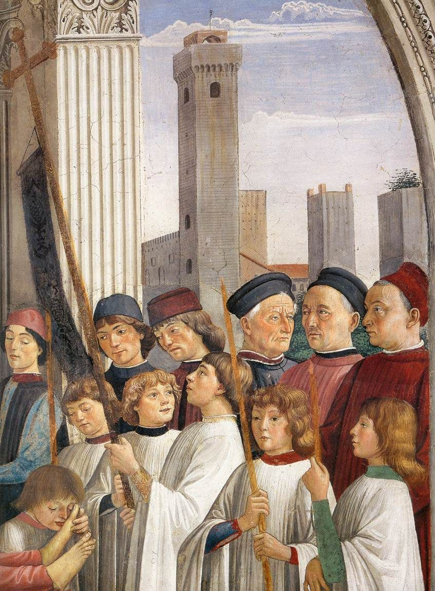 San Gimignano, Colleggiata, Obsequies of St Fina (detail), by Domenico Ghirlandaio | http://www.poderesantapia.com/nederlands/sangimignano.htm
