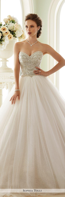 Strapless Sweetheart Neckline Tulle Wedding Gown Sophia Tolli