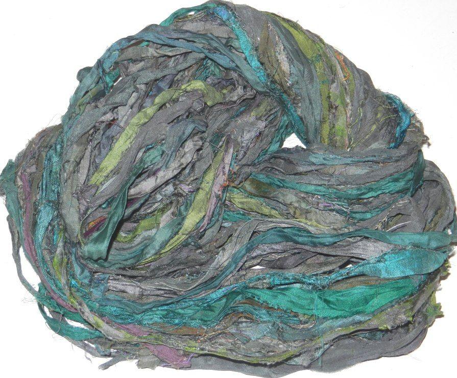 embellishment Aqua Multi for tassels 10 yards Recycled Sari Silk Ribbon Yarn